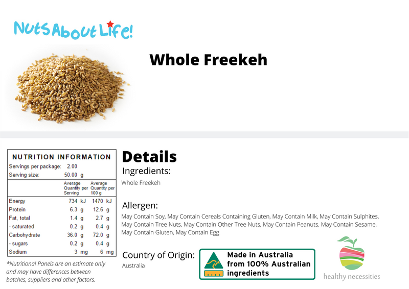 Whole Freekeh Nutritional Information