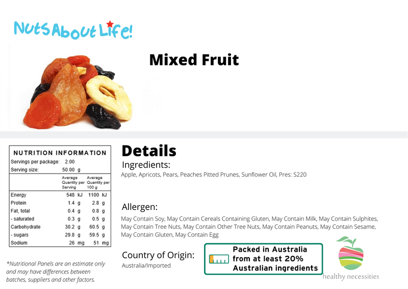 Fruit Salad Mix Nutritional Information