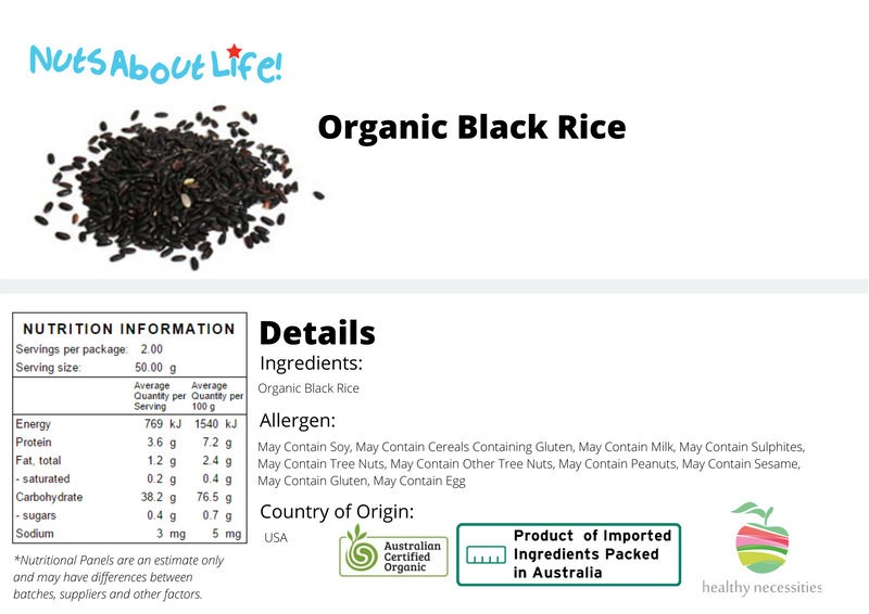 Organic Black Rice Nutritional Information
