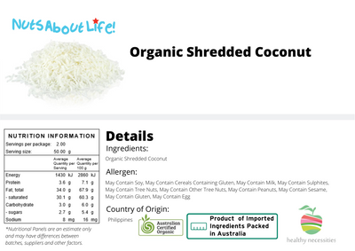 Organic Shredded Coconut Nutritional Information