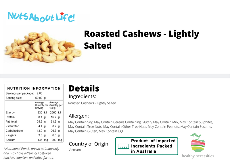 Roasted Cashews Lightly Salted Nutritional Information