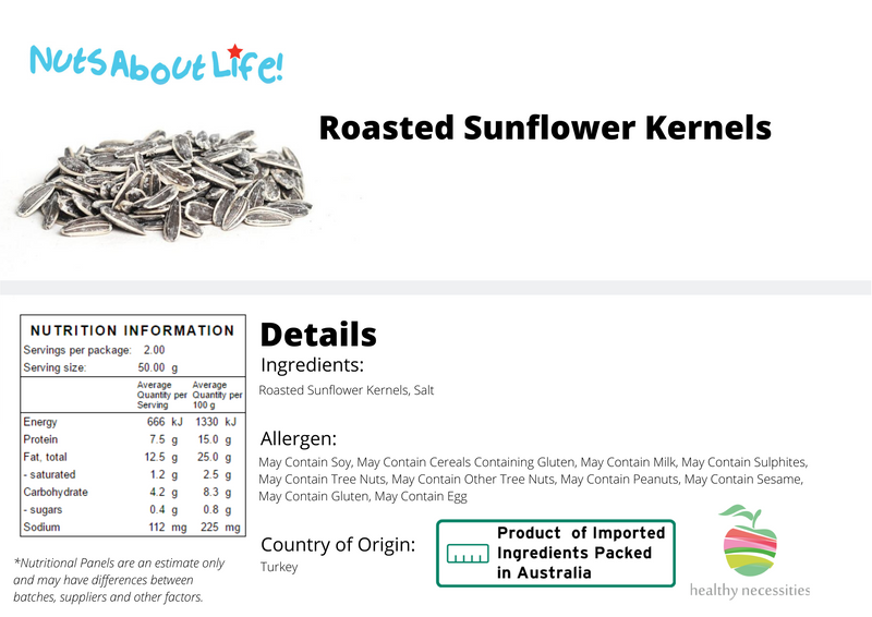 Roasted Sunflower Seeds Nutritional Information