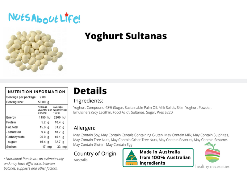 Yoghurt Coated Sultanas Nutritional Information