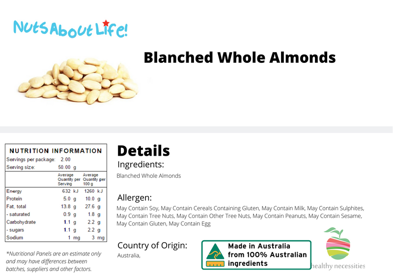 Blanched Whole Almonds $12/kg SPECIAL