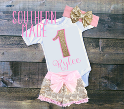 Birthday Shirt in Solid Pink and Gold Glitter // Onesie or Toddler tee // Short or Long Sleeve
