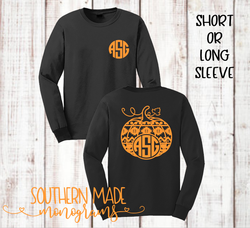Aztec Pumpkin Monogram Tee - Short or Long Sleeve - Choose all colors