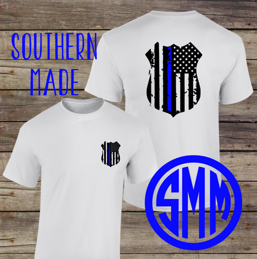 Police Badge // Back the Blue Flag Shirt // Support the police // Thin Blue Line Shirt // Short or Long Sleeve // Gildan or Comfort Colors