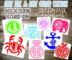 Monogrammed Decal - Choose size & Color - Over 50 Designs to choose font