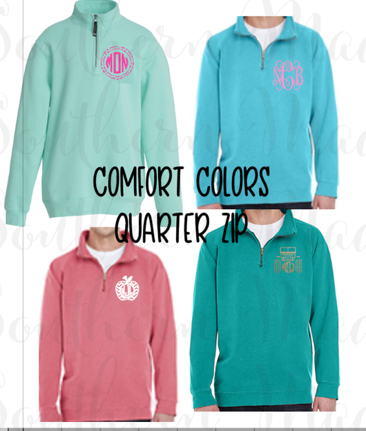 Monogrammed Comfort Colors Quarter Zip, Personalized Quarter Zip, Comfort Colors quarter zip
