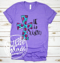 He Is Risen | Floral Cross - Choose Shirt Color & Style