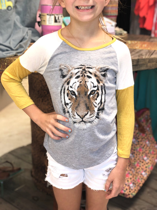 Kids Tiger Color Blocked Top