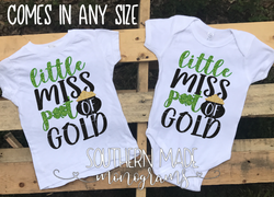 Little Miss Pot of Gold  St Patricks Day Monogram // Toddler Tee or Oneise // Short or Long Sleeve
