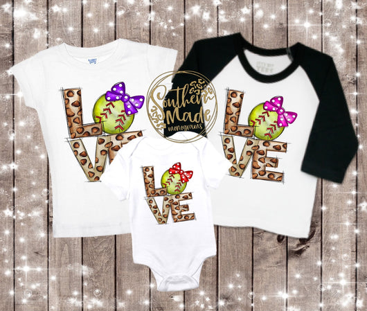 LOVE Leopard Softball - All Sizes - Choose Colors