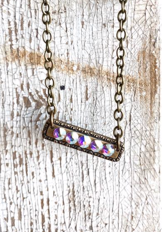 AB Crystal Bar Necklace