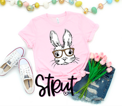 Bunny With Glasses - Choose Shirt Color & Style