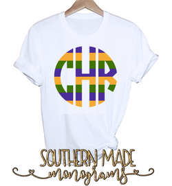 Mardi Gras Striped Monogram Shirt - Tank, Short or Long Sleeve