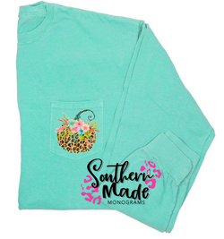 Leopard Floral Pumpkin Pocket Tee - Short or Long Sleeve
