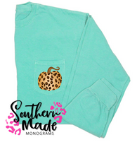 Leopard Pumpkin Pocket Tee - Short or Long Sleeve