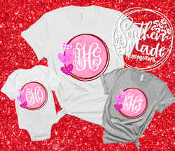 Valentines Day Monogram Shirt  - Choose Shirt Color & Style