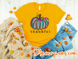 Thankful Watercolor Pumpkin Tee  - Short or Long Sleeve - Choose all colors