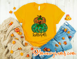 Leopard Watercolor Stacked Pumpkin Tee  - Short or Long Sleeve - Choose all colors