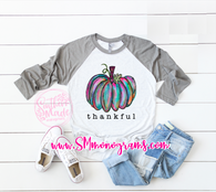Thankful Watercolor Pumpkin Tee  - Baseball Tee