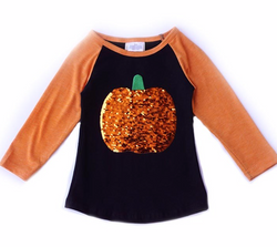 Kids Sequin Pumpkin Raglan