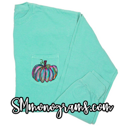 Watercolor Pumpkin Pocket Tee - Short or Long Sleeve