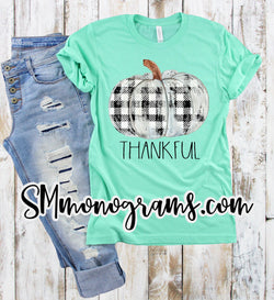 Thankful Plaid Pumpkin -Kids-Adults - Short or Long Sleeve - Choose all colors