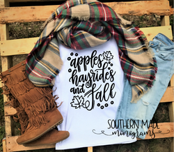 Apples Hayrides and Fall - Short or Long Sleeve - Choose all colors
