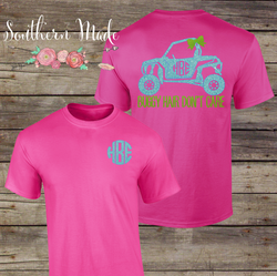 Buggy Hair Don't Care Monogrammed Tshirt -  Choose all your colors