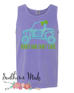 Buggy Hair Don't Care Monogrammed Tank -  Choose all your colors