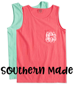 Comfort Colors Pocket Monogram Tank