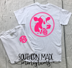 Cow Monogram Tshirt - Gildan or Comfort Colors - Choose all colors