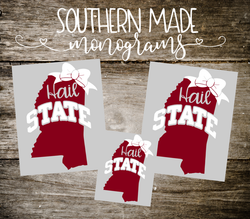 Hail State Bow Decal - Choose any size!