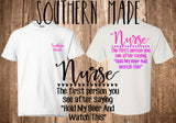 NURSE The First Person You See After Saying Hold My Beer and Watch This Southern Made Tshirt Glitter Tshirt Nursing Student Southern Made