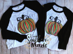 Watercolor Pumpkin Baseball Tee