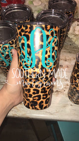 Leopard Yeti Monogrammed Cup -Option for Monogram