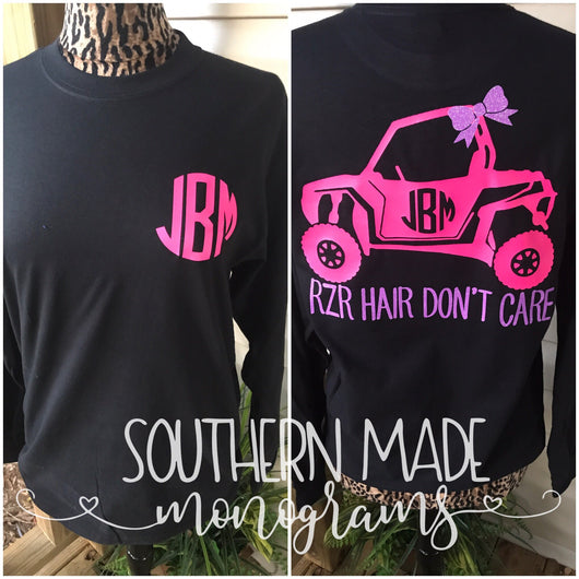 RZR Hair Don't Care Monogrammed Tshirt -  Choose all your colors