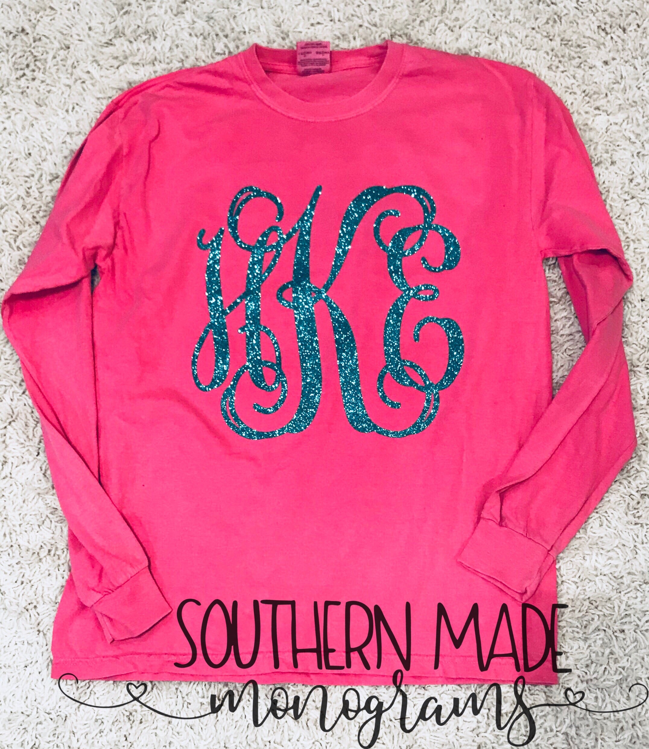 Large Front Monogram Tee - Short or Long Sleeve - Gildan or Comfort Colors