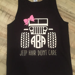 Jeep Hair Don't Care Monogrammed Tank -  Choose all your colors