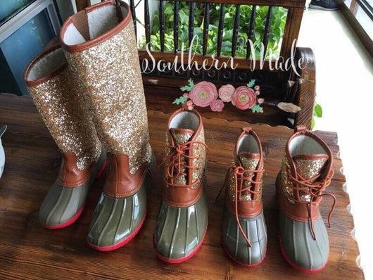 IN STOCK - Glitter Duck Boots - Adult