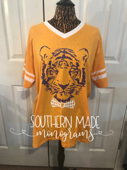 Tiger Head With Bow Tie - Jersey Tshirt - Choose Colors