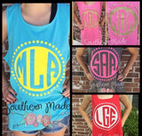 Circle Dot Monogrammed Tank - Unisex or Womens Ft