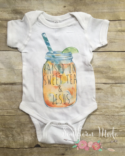 Raised on Sweet Tea and Jesus Mason Jar // Toddler Tee or Oneise // Short or Long Sleeve