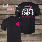 Jeep Hair Don't Care Monogrammed T Shirt - Short or Long Sleeve - Choose all your colors