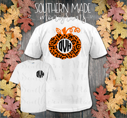 Leopard Monogram Pumpkin Tshirt - Short or Long Sleeve