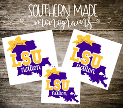 LSU Nation Inspired Bow Decal - Choose any size!