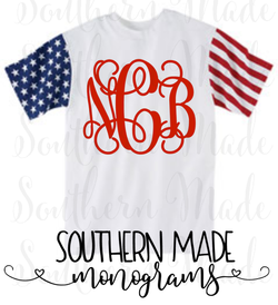 Stars and Stripes Monogrammed Unisex Tee