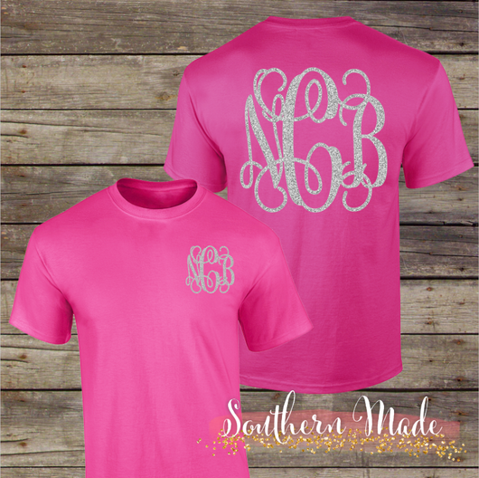Monogrammed T Shirt Design Large On Back And Pocket Area Choose